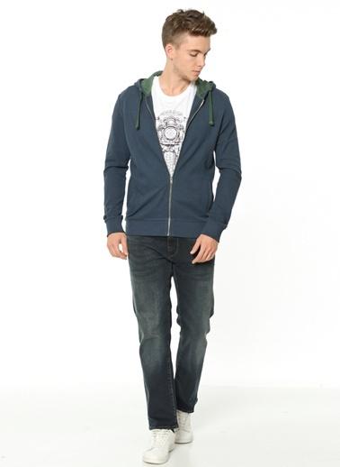 Fermuarlı Sweatshirt-Mavi